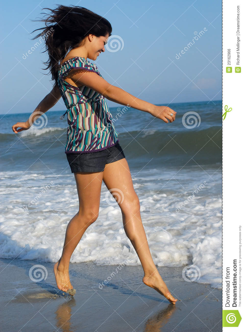 Young Woman Walking On Beach Royalty Free Stock Image ...