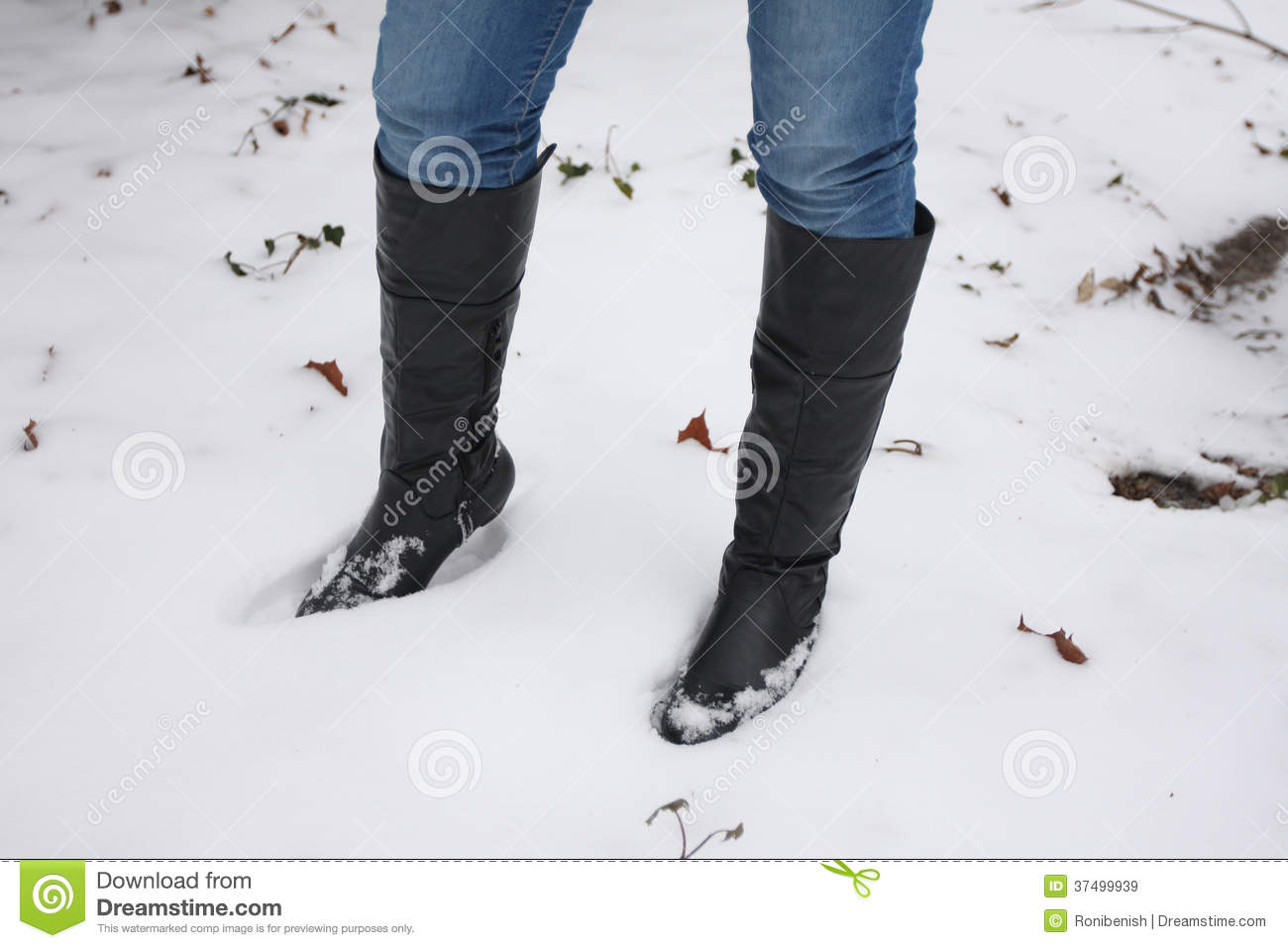 Young Woman Walking Boots In The Snow Royalty Free Stock Images ...