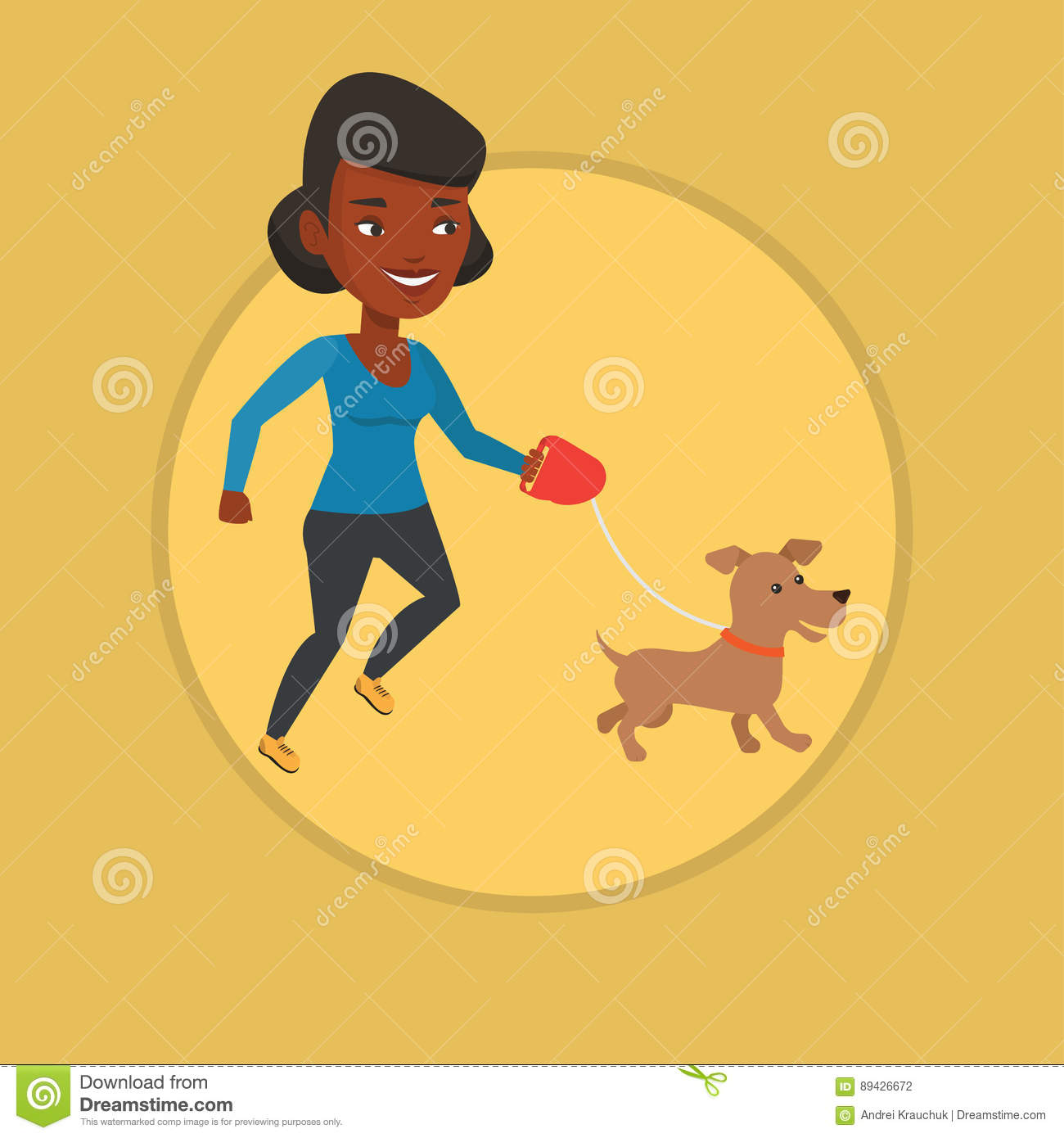 5bbff1260cd73 Young Woman Walking With Her Dog. Stock Vector - Illustration of ...