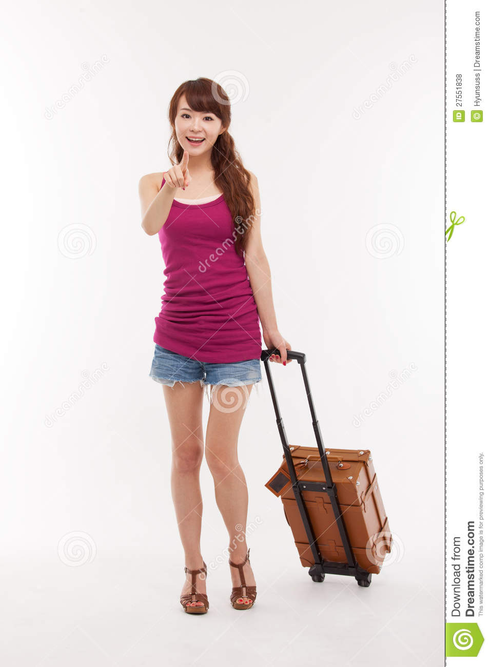 Young Woman Walking With Luggage. Royalty Free Stock Photos ...