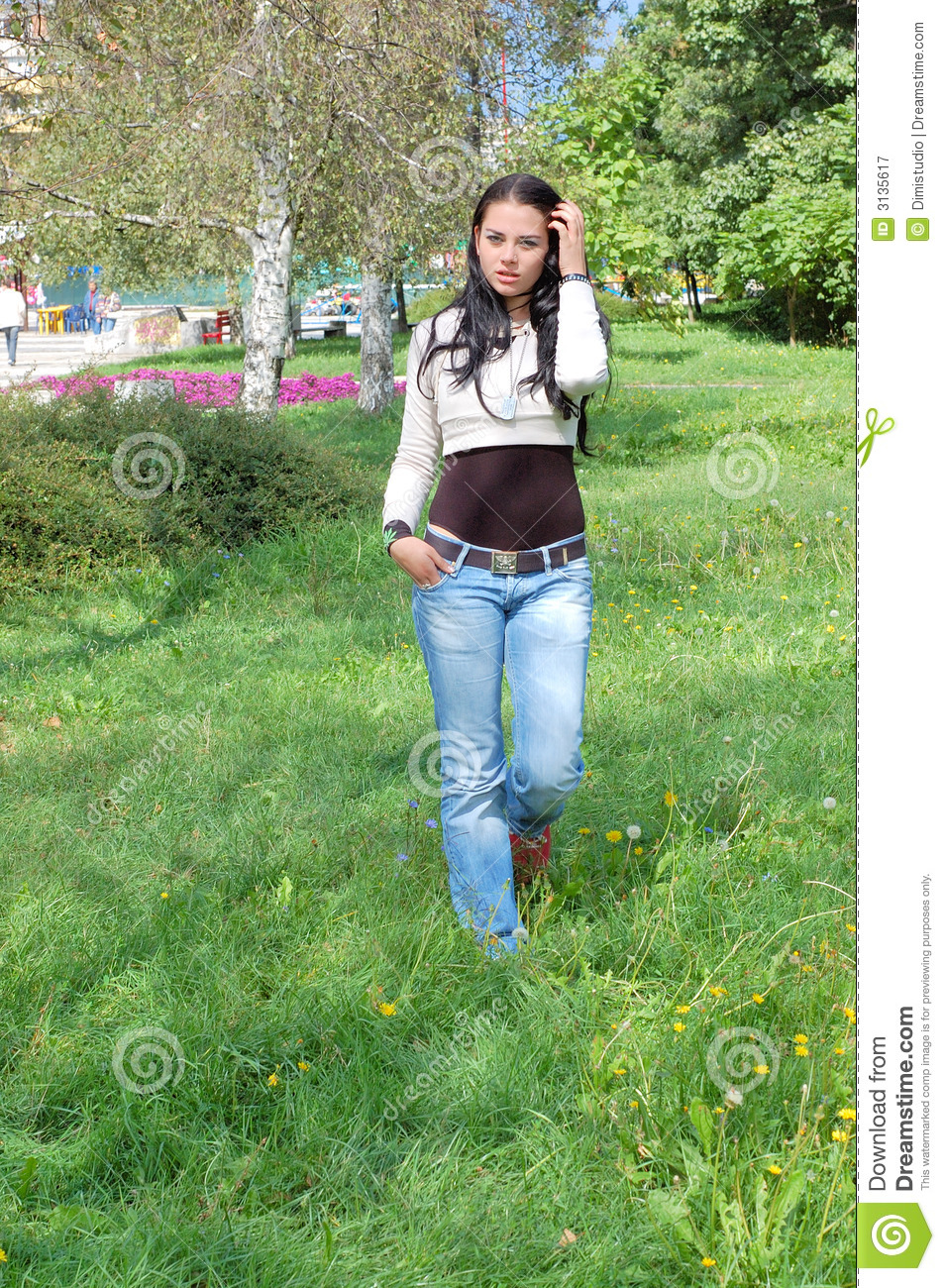 young woman walking in park stock image image of outside