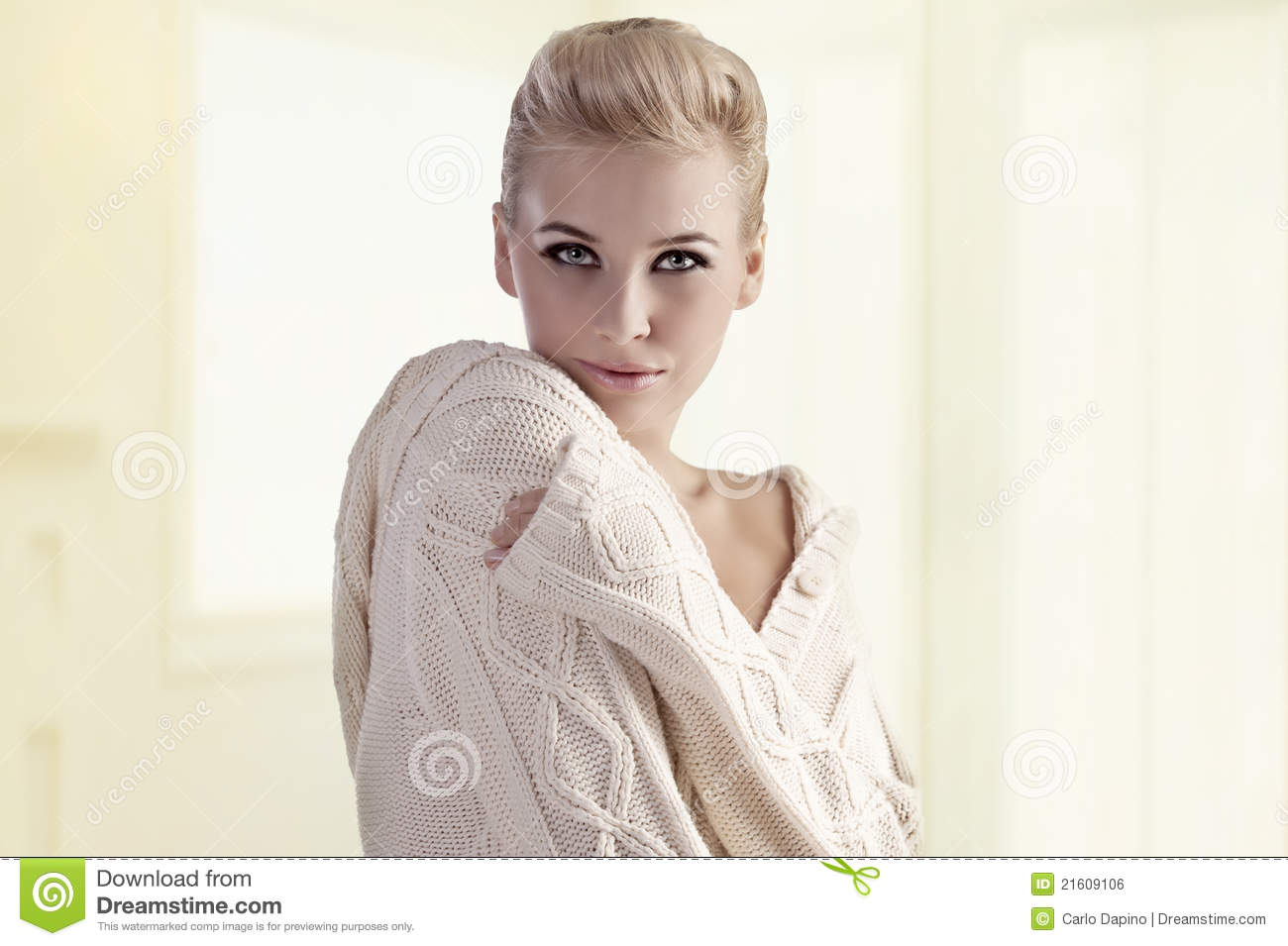 Young Woman In A Warm Woolen Sweater Royalty Free Stock ...