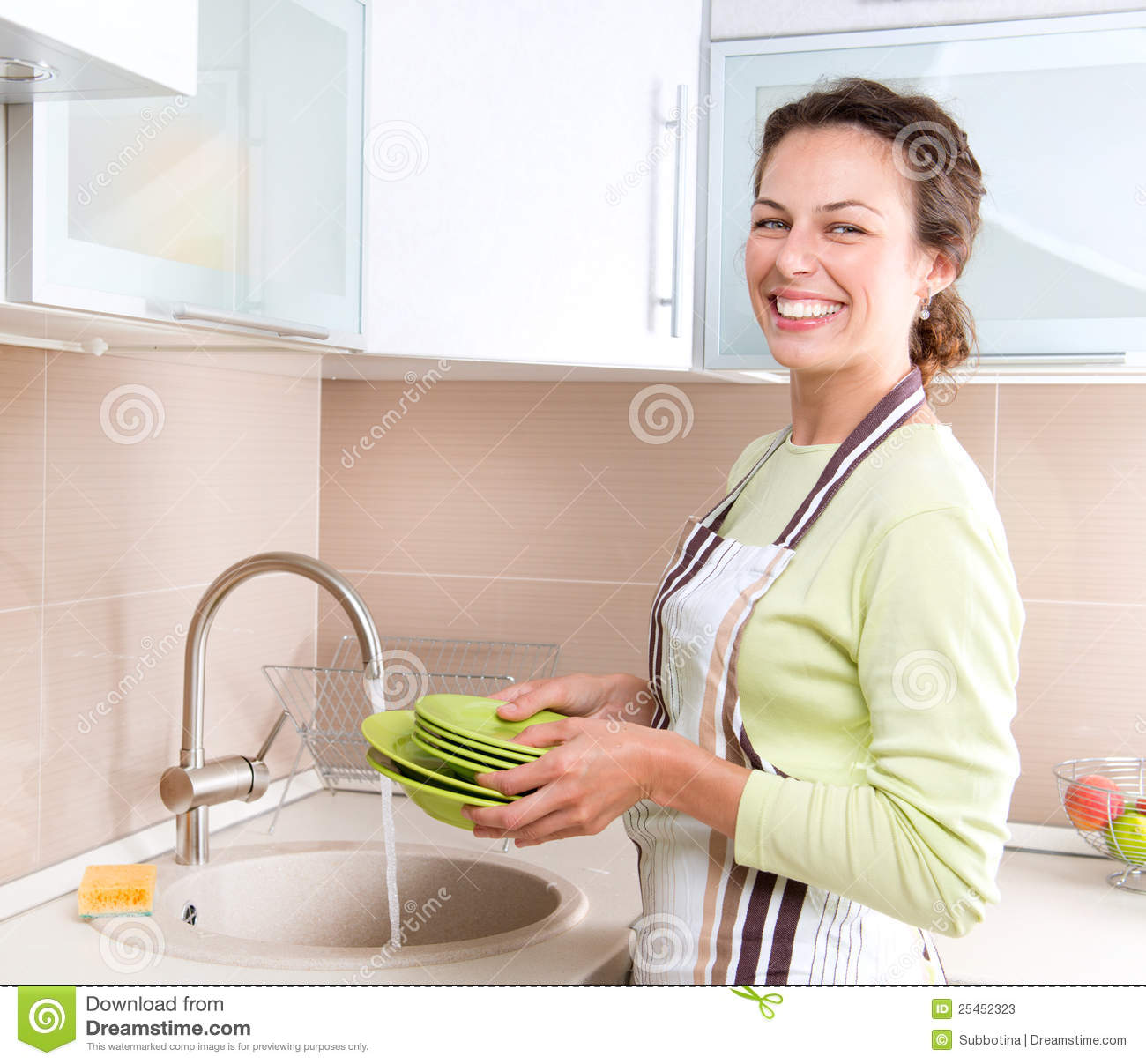 Young Woman Washing Dishes Stock Photos Image 25452323