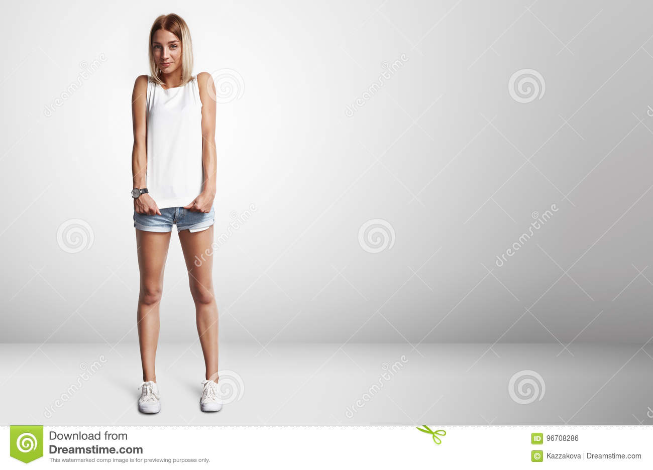 c86ffe67fecbb Young Woman Wearing Blank T-shirt Stock Photo - Image of textile ...
