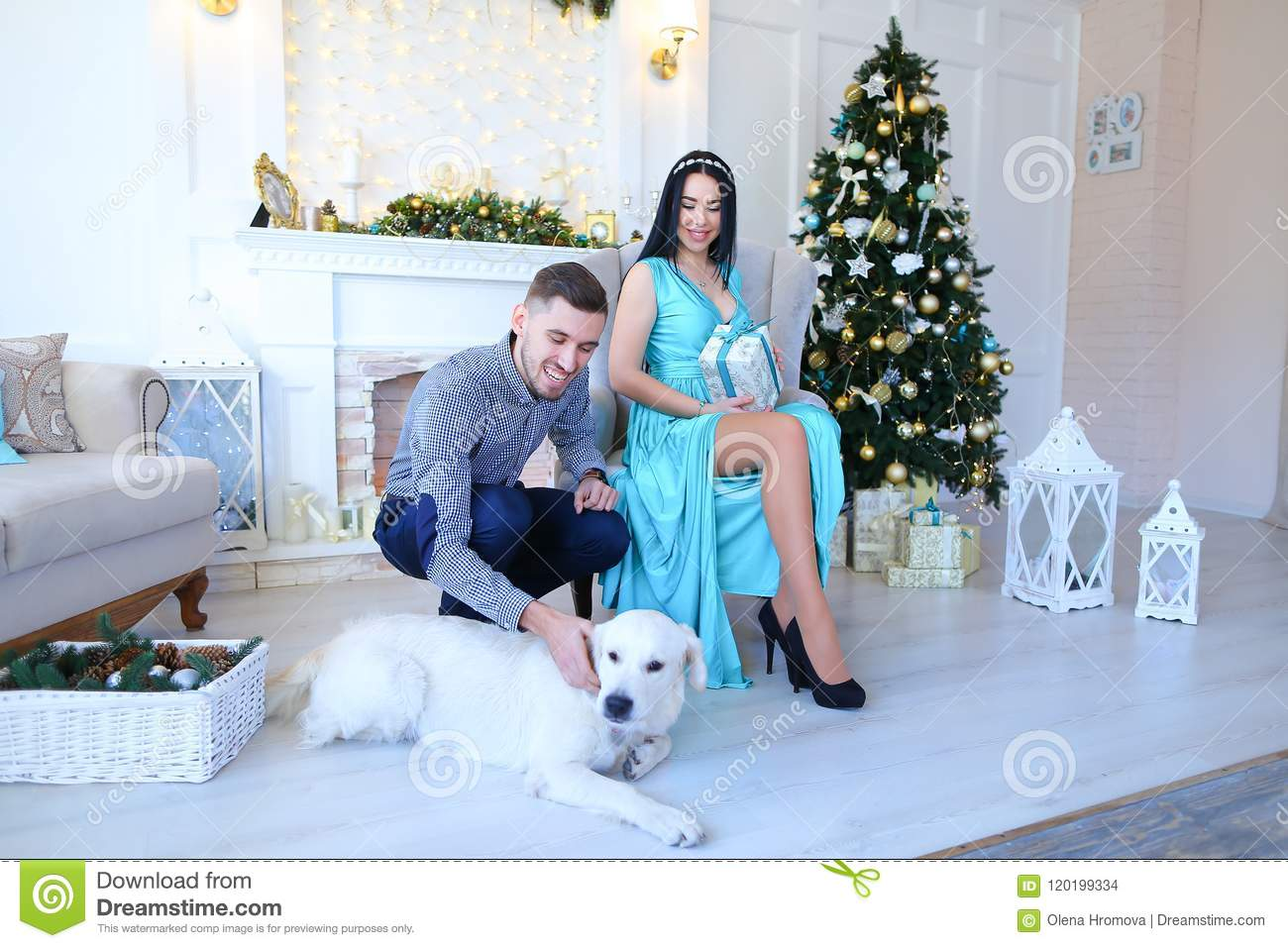 Young woman wearing blue dress and man sitting near fireplace and Christas tree, dog lying on floor.