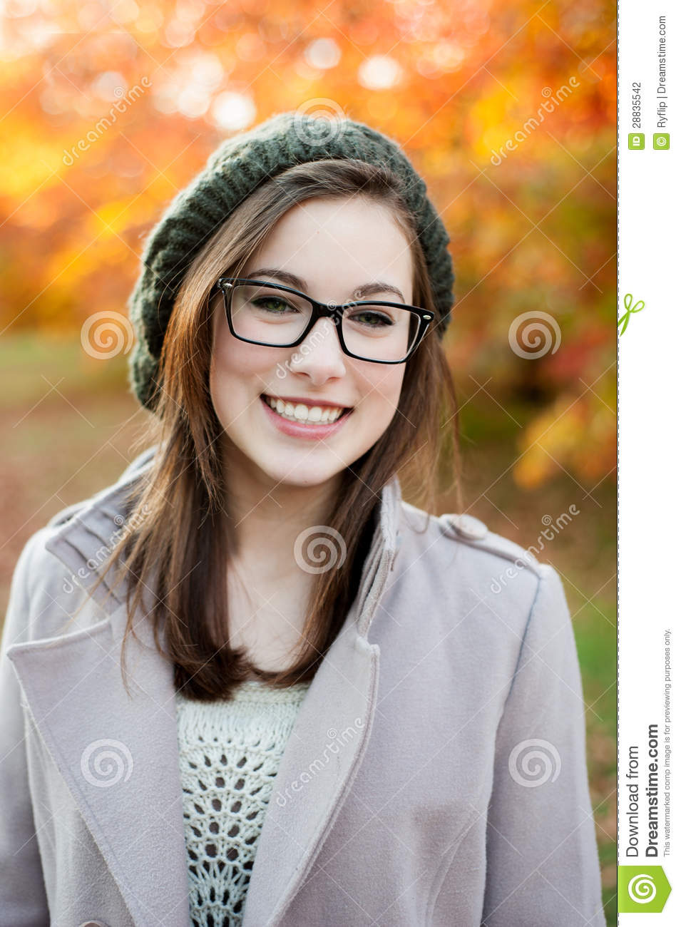 Young Woman Wearing Glasses Smiling Stock Photo - Image ...