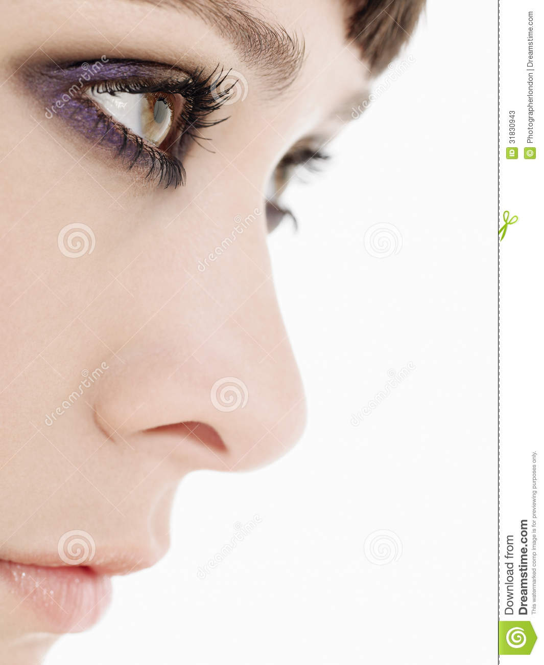 Young Woman Wearing Heavy Eye Makeup Side View Close Up Stock Image - Image 31830943