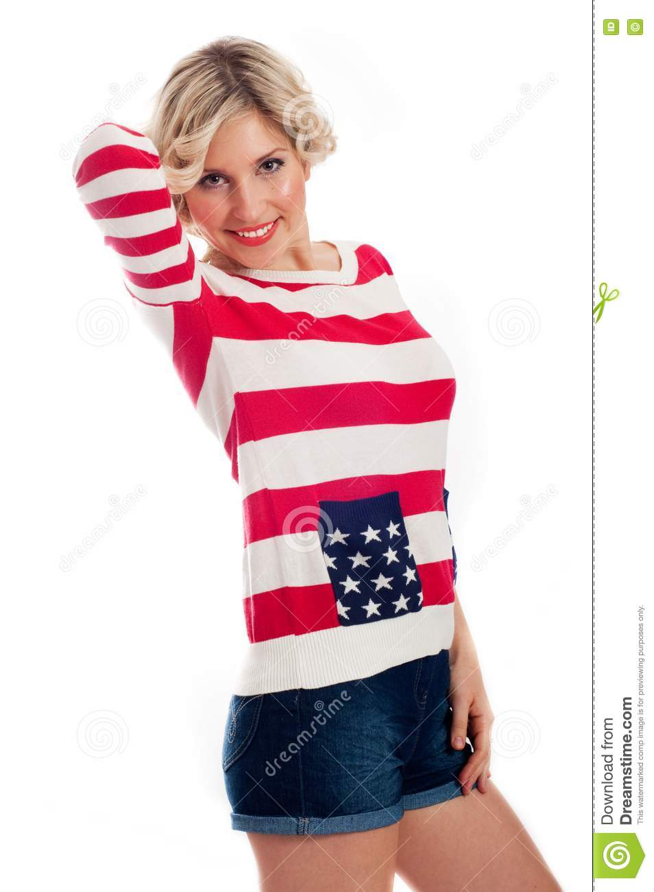 Young woman wearing the patriotic colors clothes