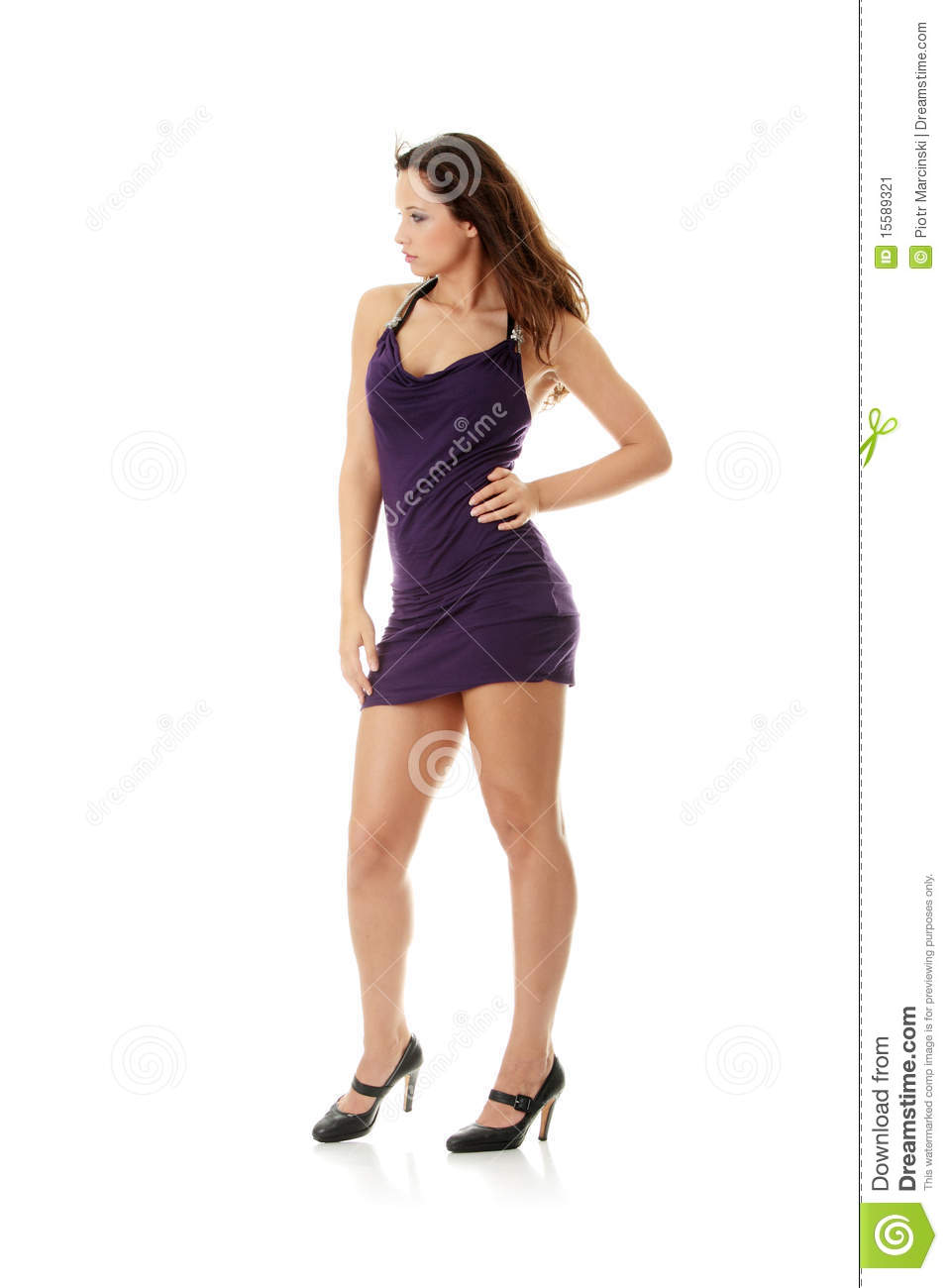 Young woman wearing a purple dress