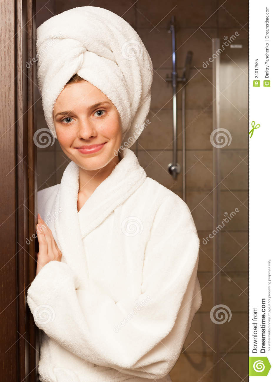 Young woman wearing a robe stock image. Image of care - 24012585 312862aa6
