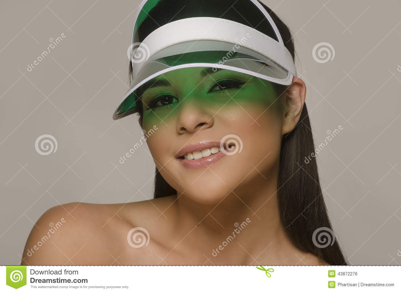 20f8a496 Young Woman Wearing Sun Visor Stock Photo - Image of elegance ...