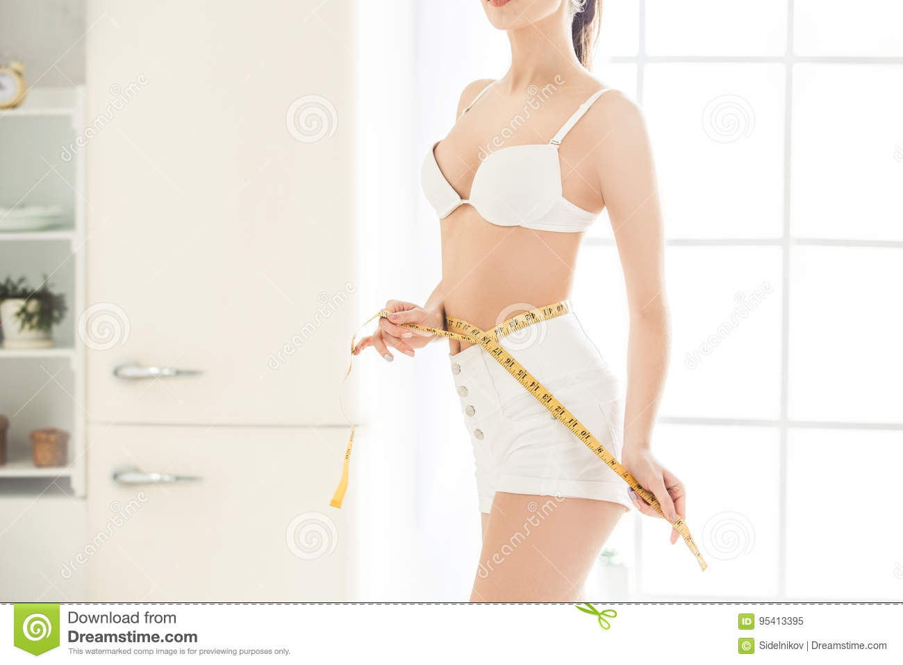 Young Woman Weight Loss Perfect Body Shape Stock Image Image Of Healthy Female 95413395