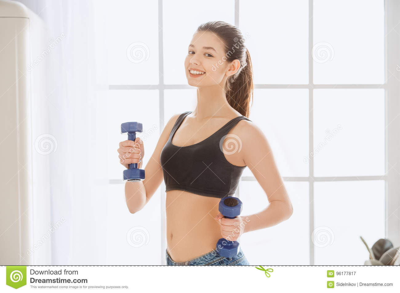 491b3a93e4 Young Woman Weight Loss Perfect Body Shape Stock Image - Image of ...