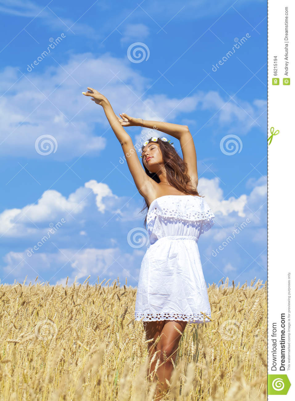 Young Woman In A Wheat Golden Field Stock Photo - Image of ...