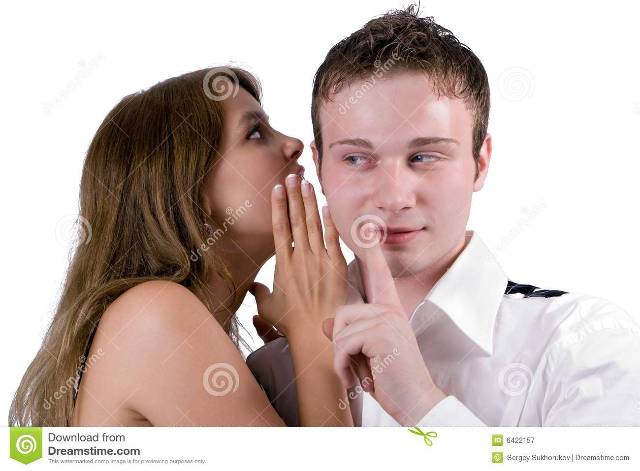 Young woman whispers on an ear to the young man