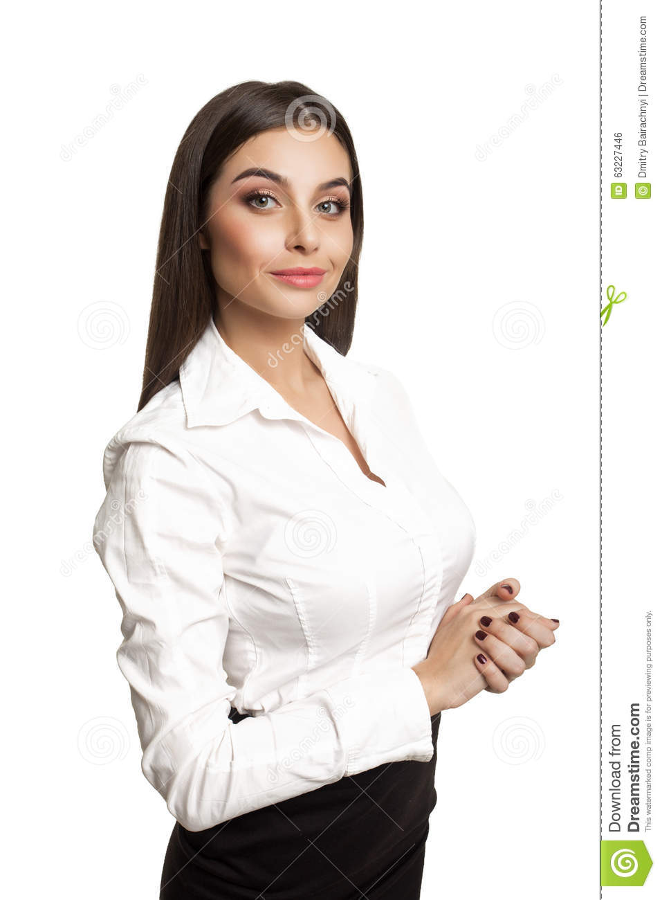 Young Woman In White Blouse Stock Photo - Image: 63227446
