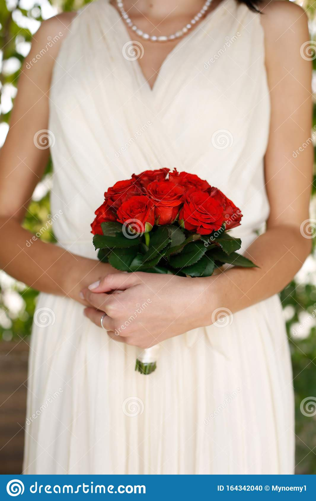 Bride Hands With Rose Wedding Bouqiet Stock Photo   Image of ...