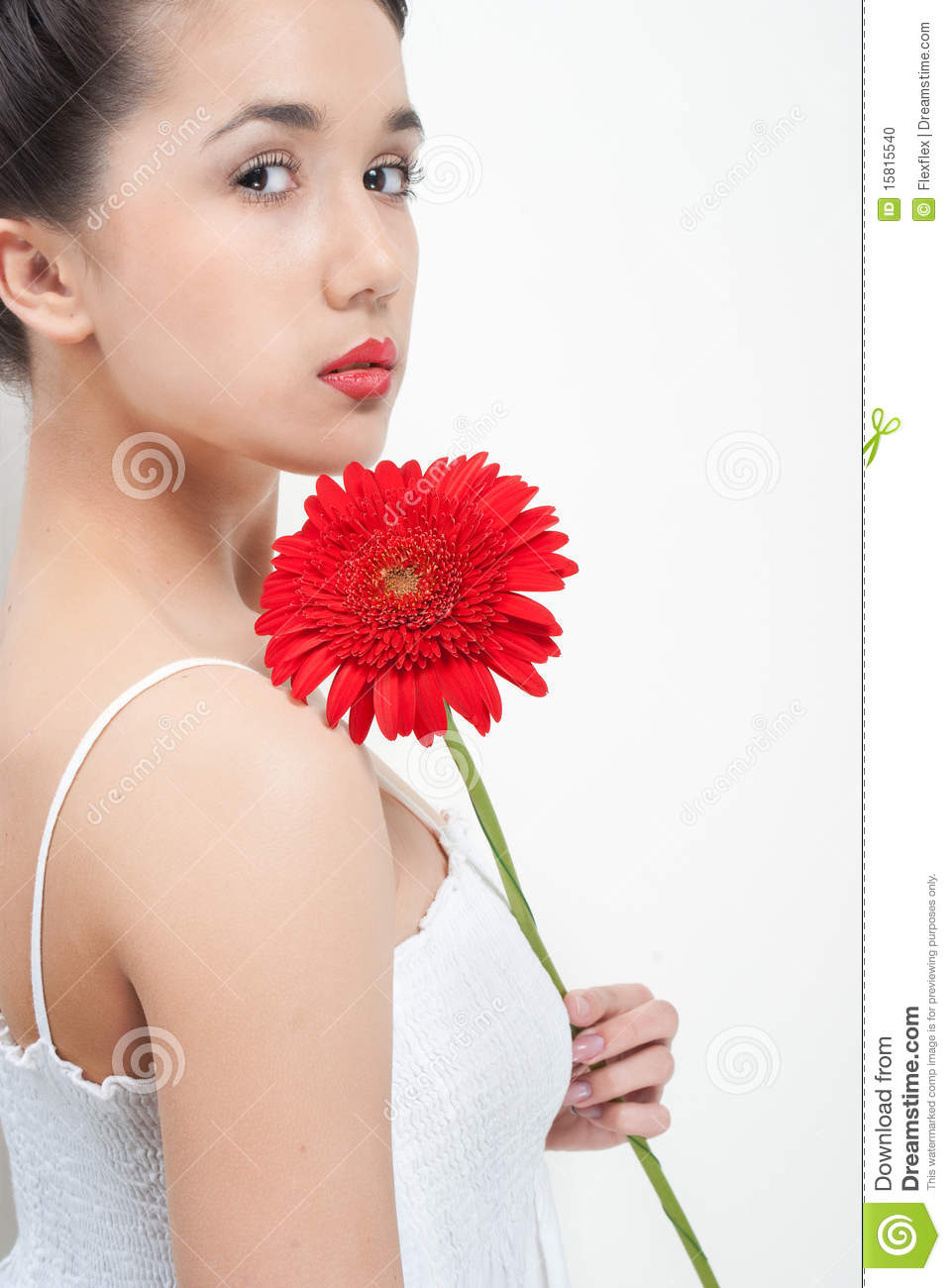 Young Woman In White Dress With Red Flower Stock Photo Image Of