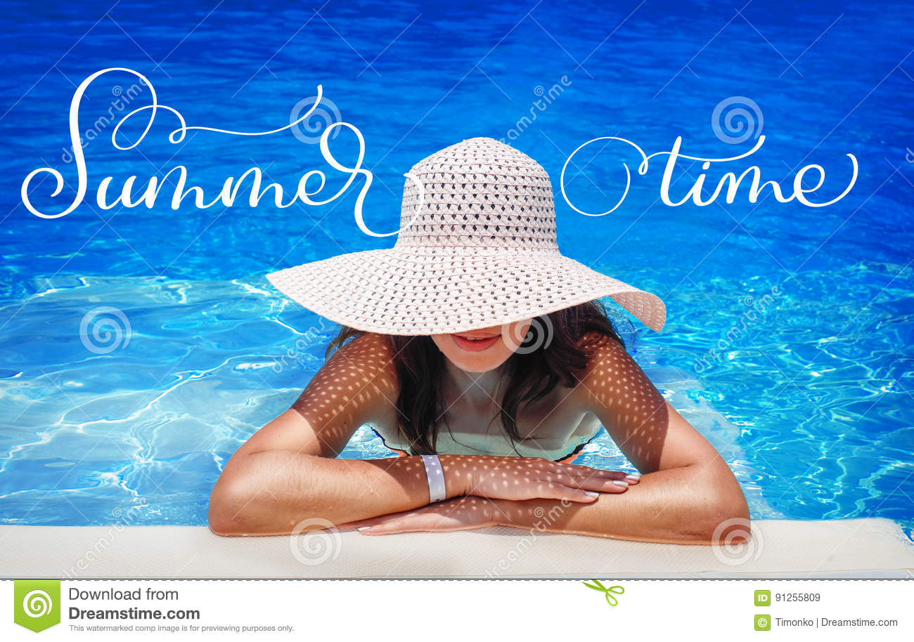 Young woman in white hat resting in pool and text Summer time. Calligraphy lettering hand draw