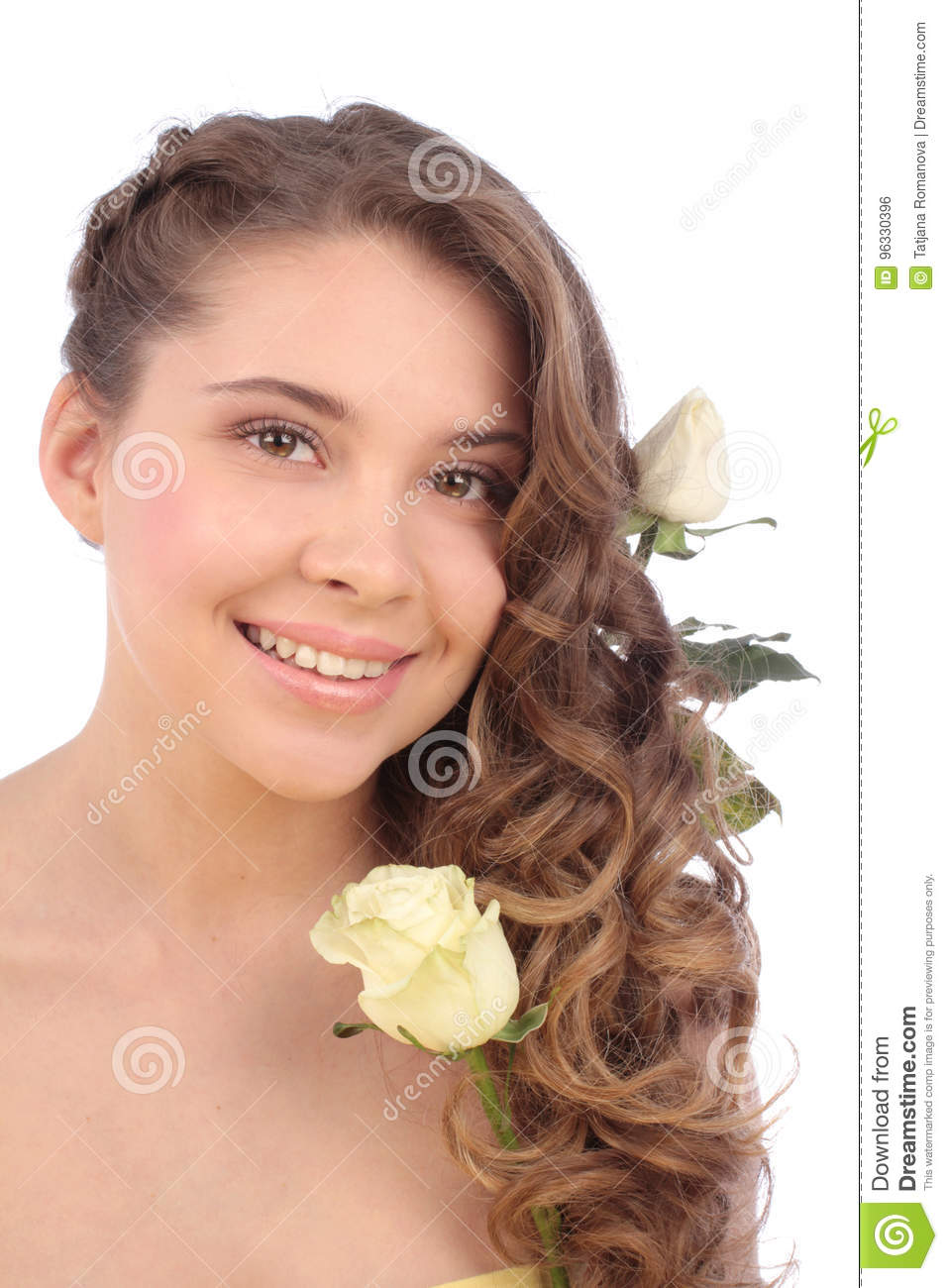 Young woman with white rose