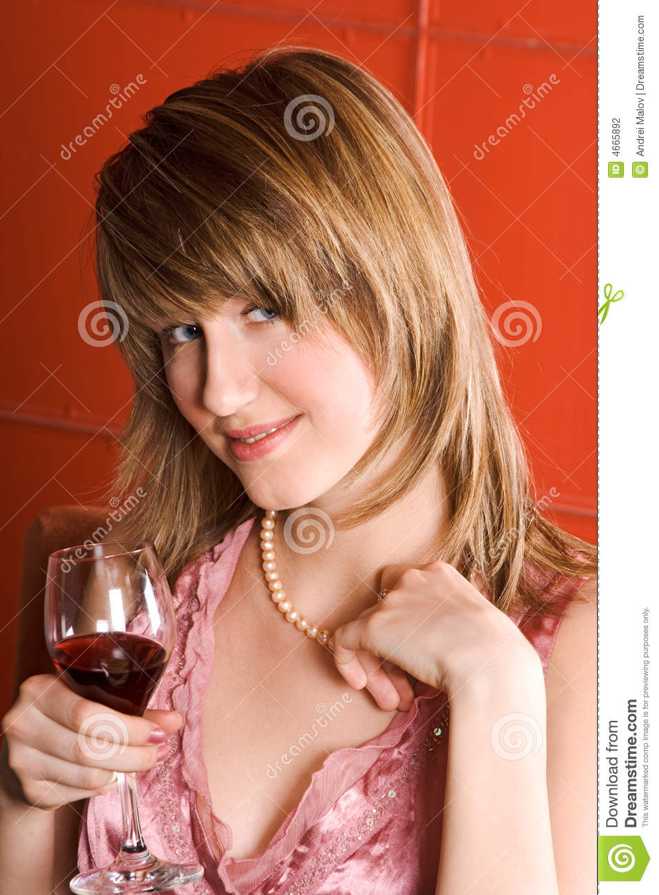 Young woman with wine glass