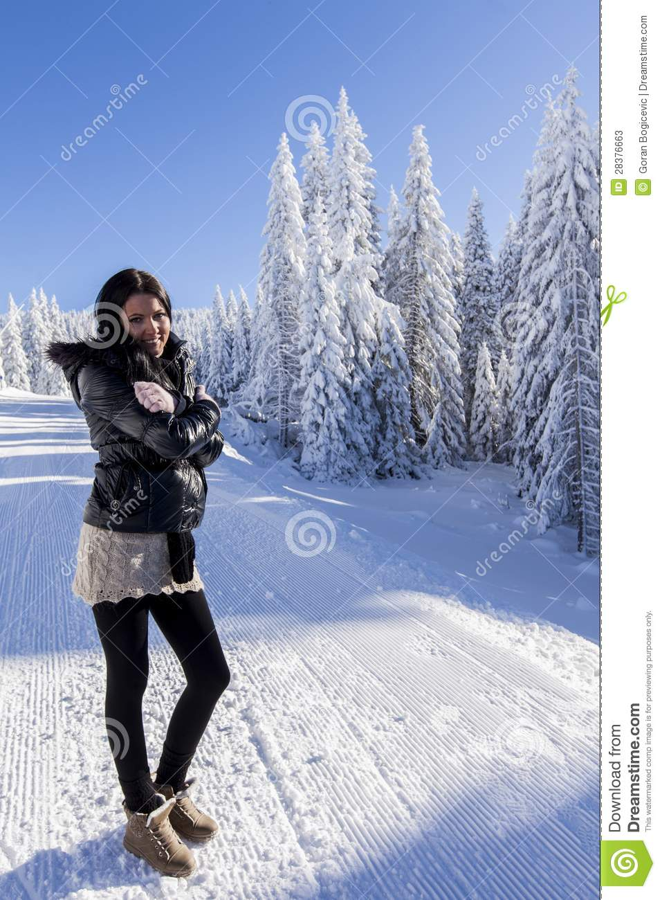 Young woman on winter vacation stock photos image 28376663 for Vacation in the snow