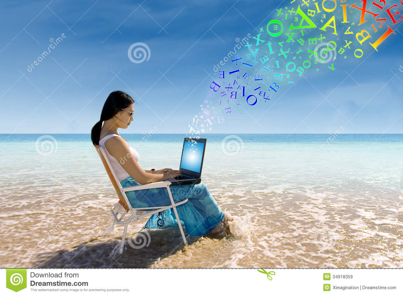Young woman working at the beach