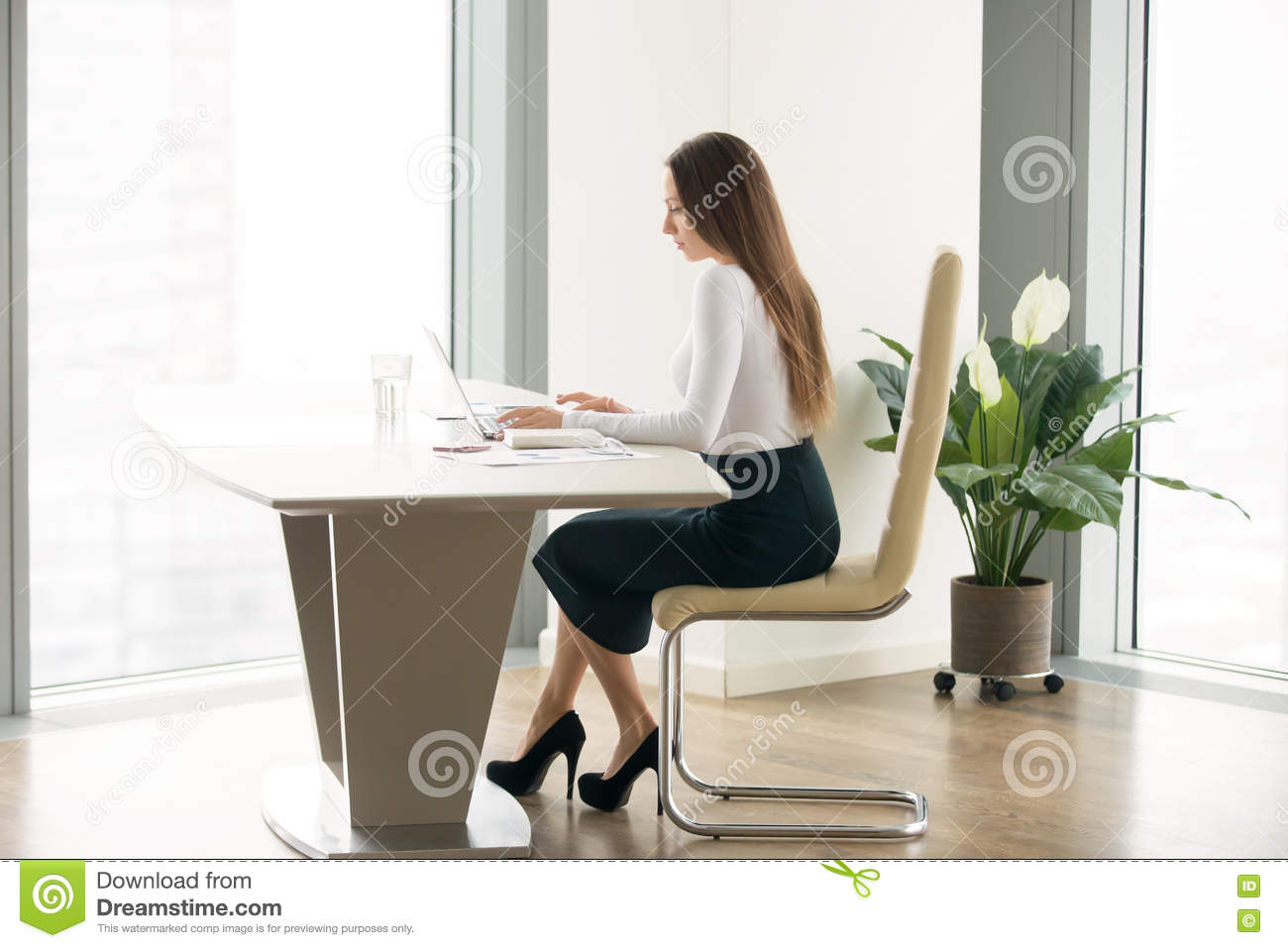 woman office furniture. Young Woman Working At The Office Desk Furniture S
