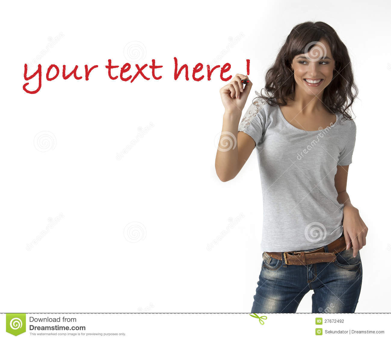 young woman writing on glass stock photography