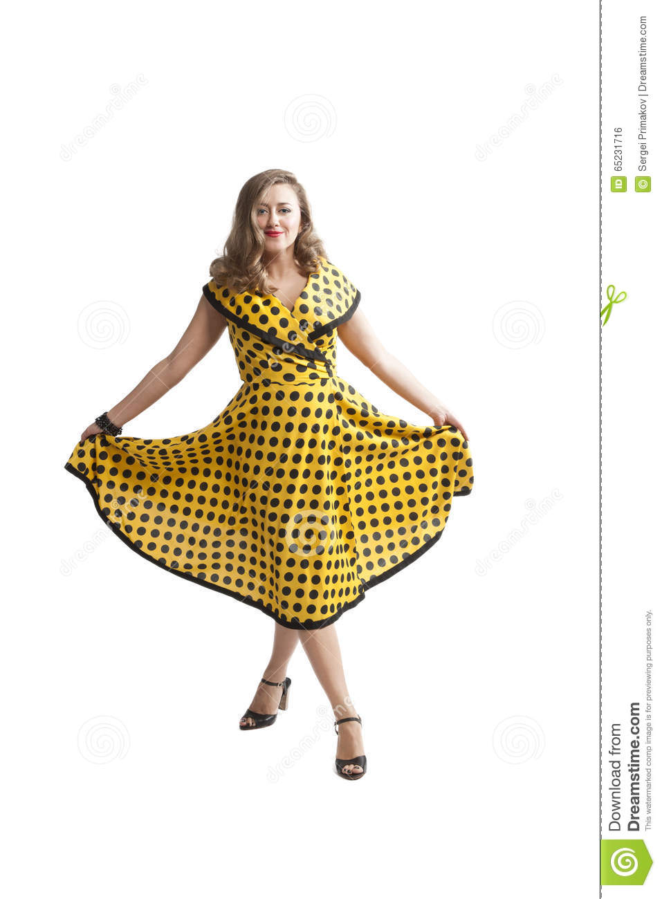 Young Woman In Yellow Pin-up Dress Stock Photo - Image of vintage ...