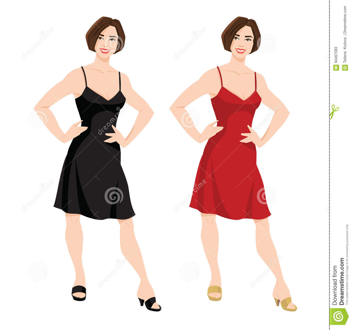 Young Women With Bob Hairstyle In Red And Black Dress Stock Vector