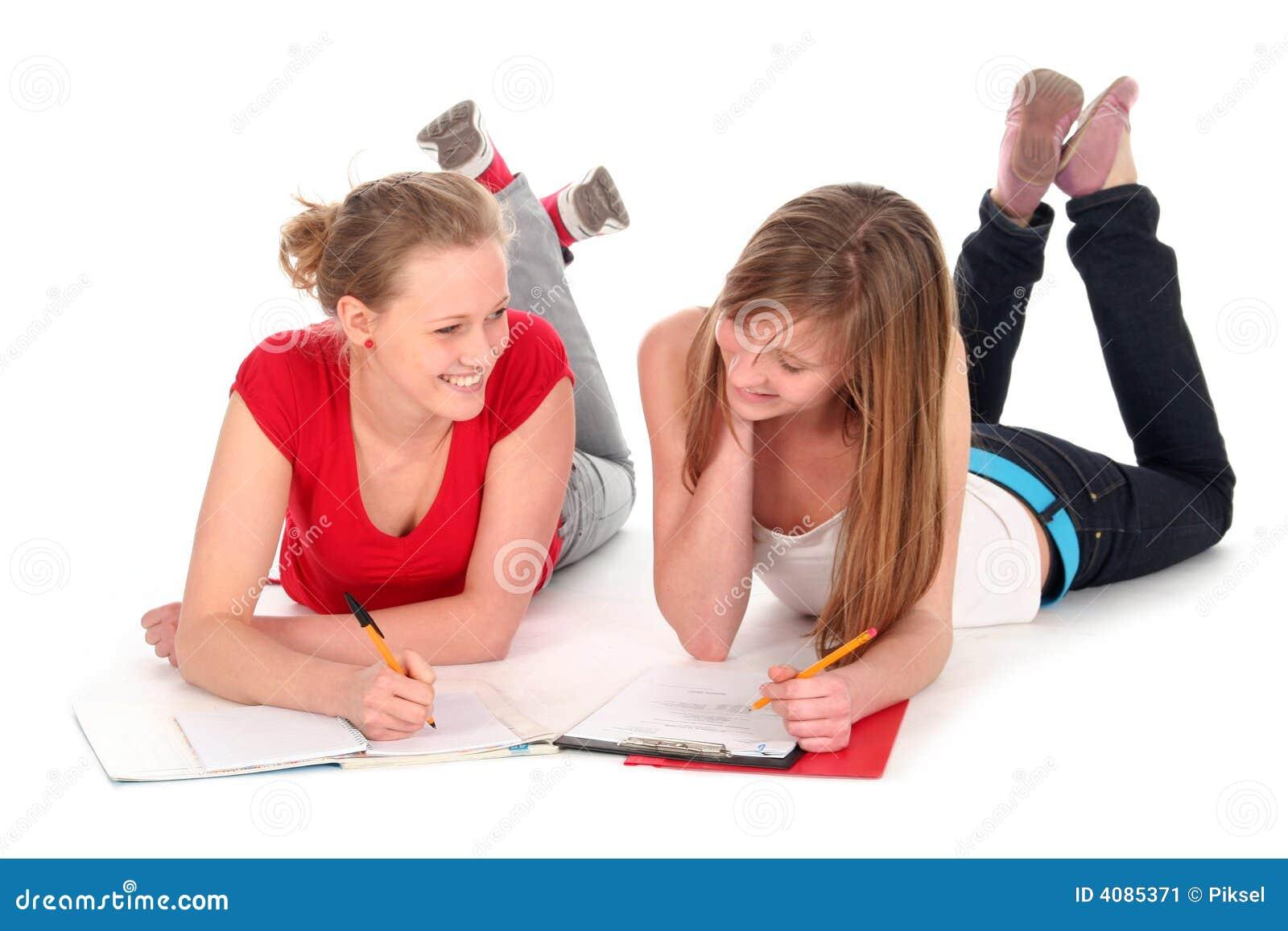 Young women doing homework