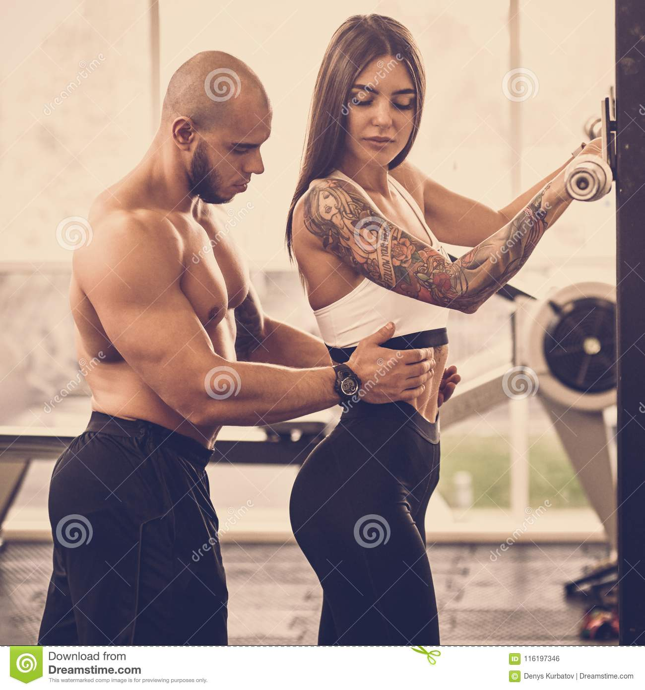Exercising With Personal Trainer Stock Photo - Image of ...