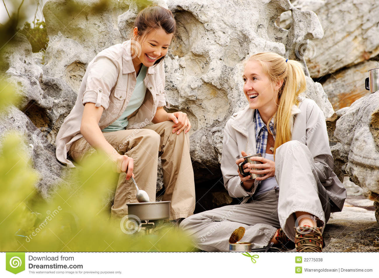 Young women relaxing after a days hike