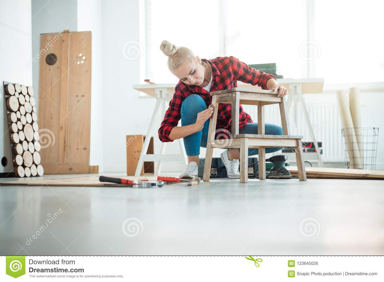 Download Young Women Repairing Furniture At Home Stock Photo   Image Of  Adult, Skill: