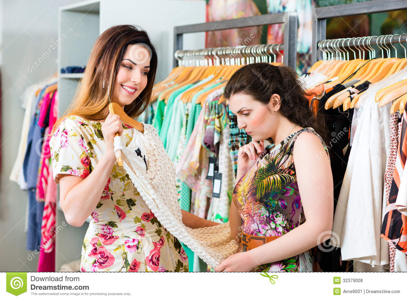 Young Women Shopping Fashion In Department Store Royalty Free Stock ...