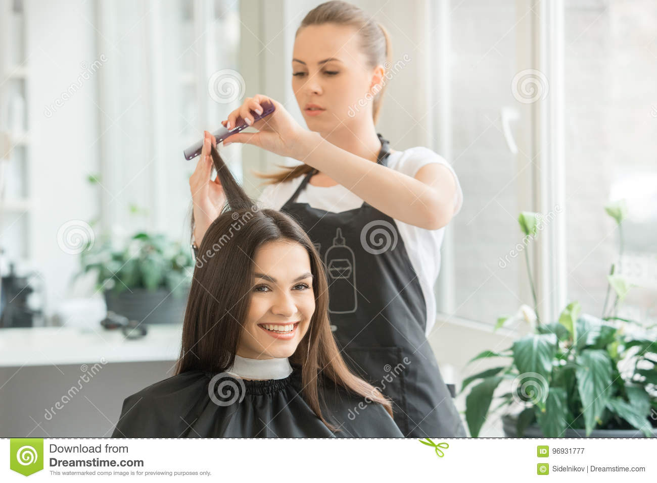 Young Women Sitting In Beauty Hair Salon Style Stock Image Image