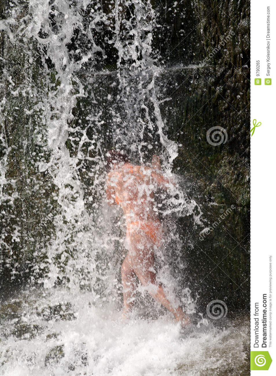 Young Women Standing Under A Waterfall Stock Image - Image ...