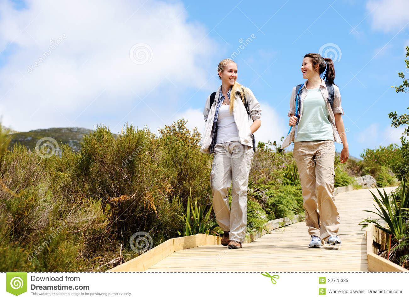 Young women starting a hike