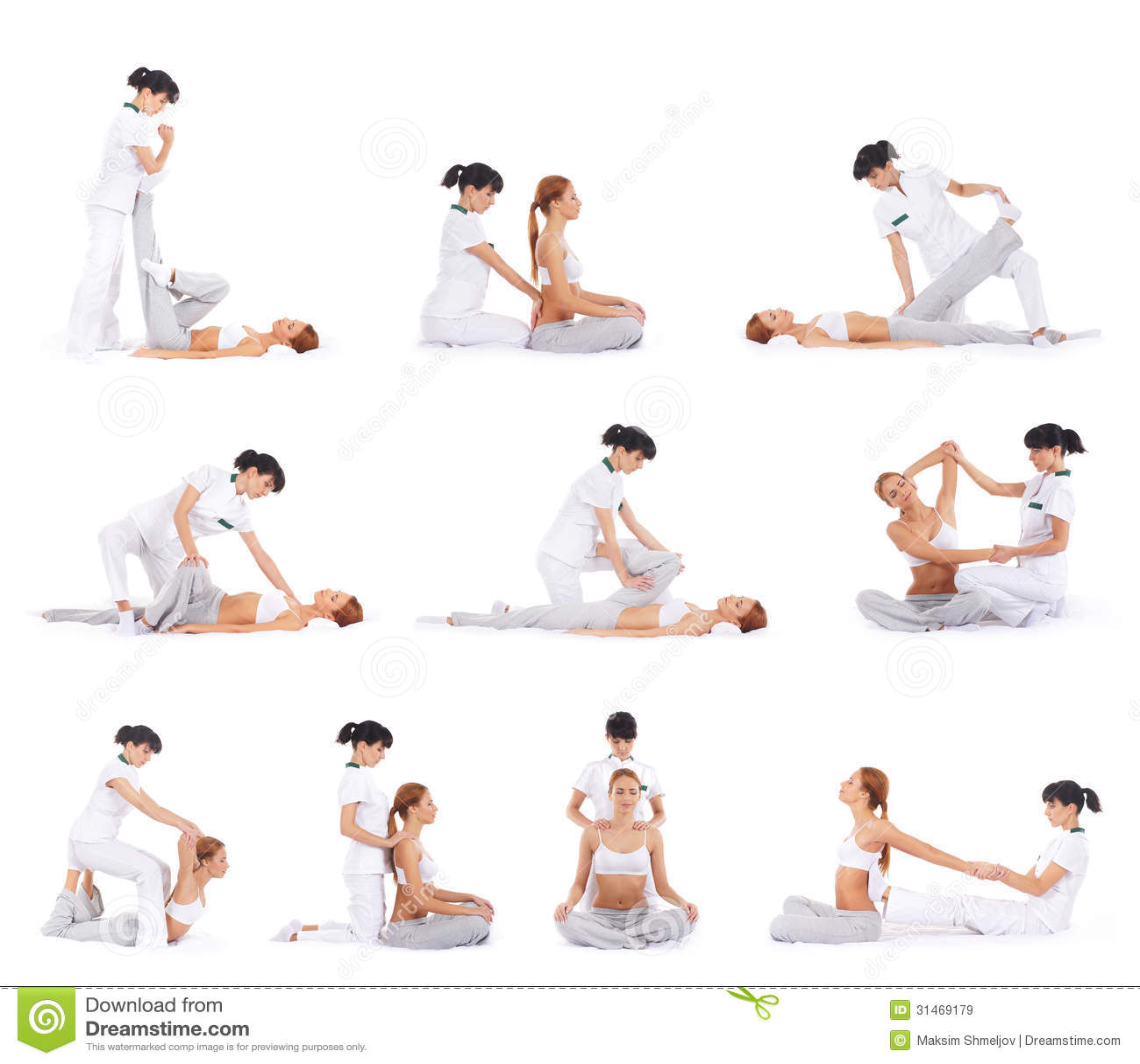 Young women on a Thai massage procedure