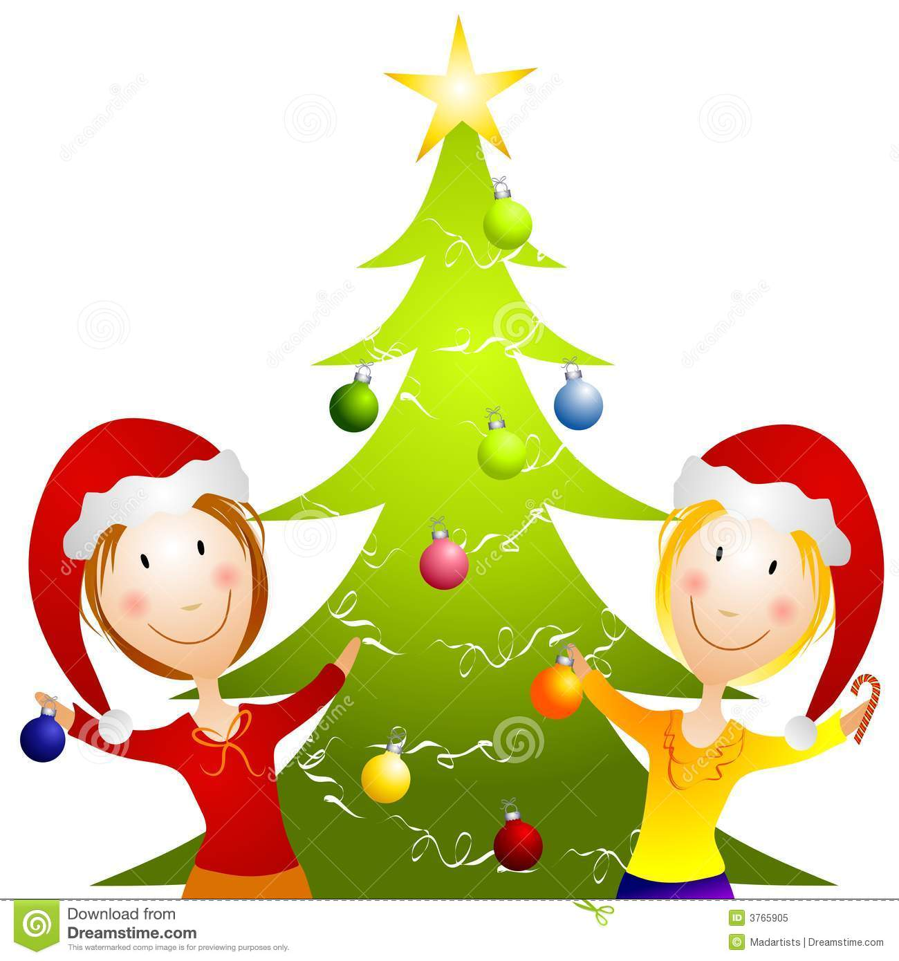 Young Women Trimming Christmas Tree Royalty Free Stock Photo ...