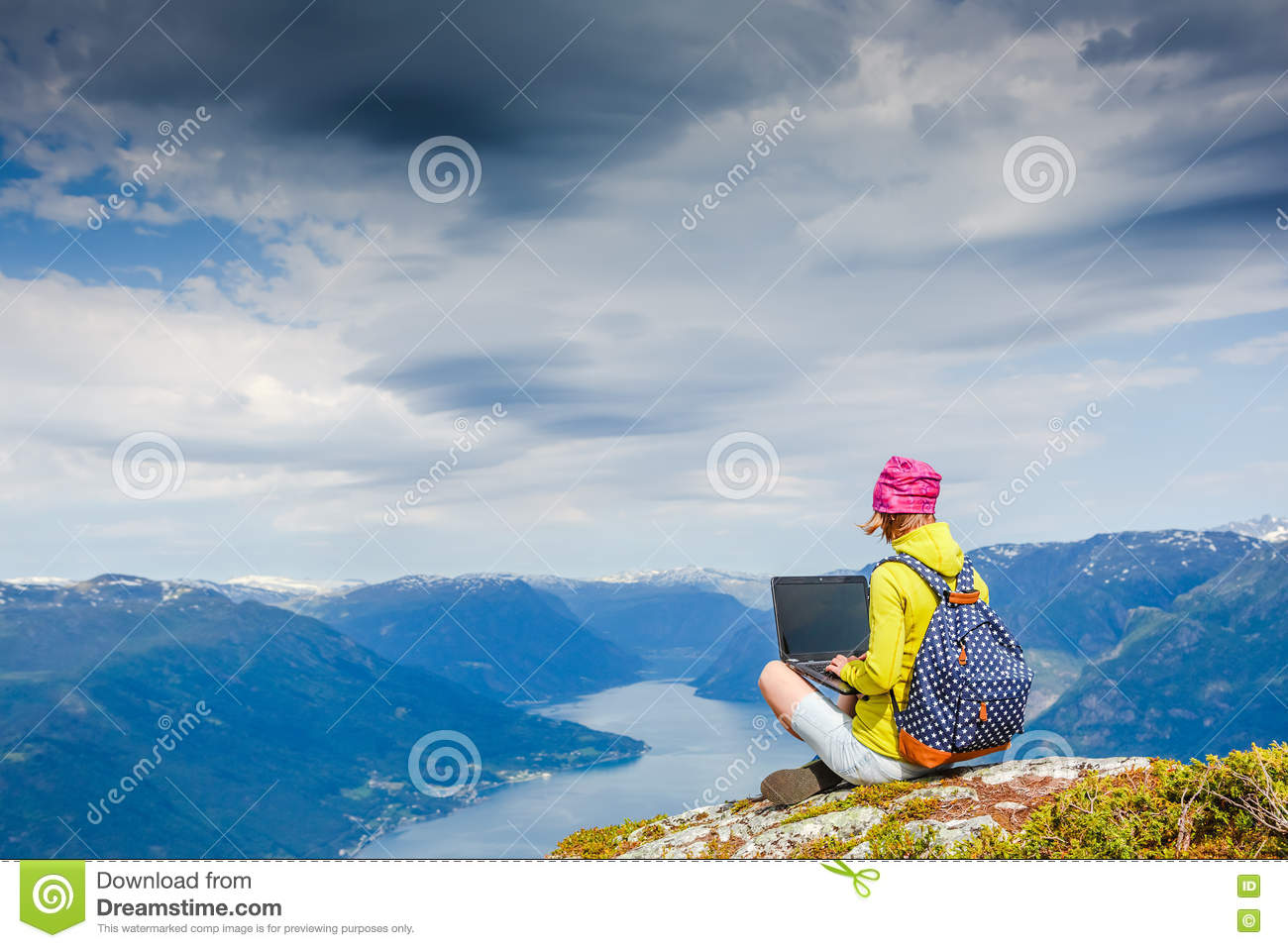 Young women working with laptop