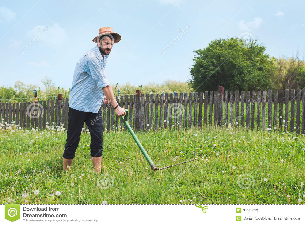 Young worker in the field stock image  Image of farmers - 91810893