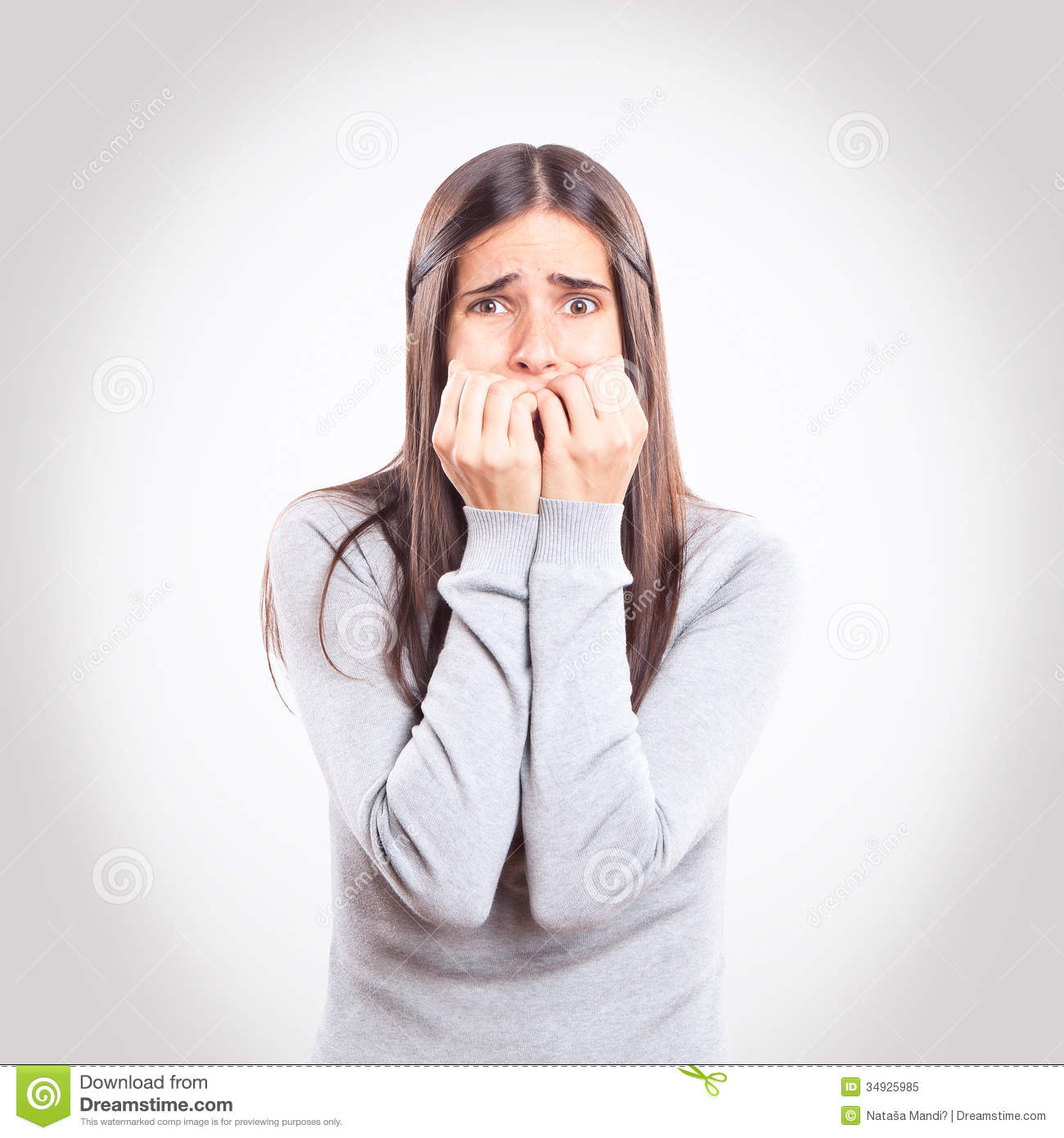 young worried girl stock image image of frustration 34925985