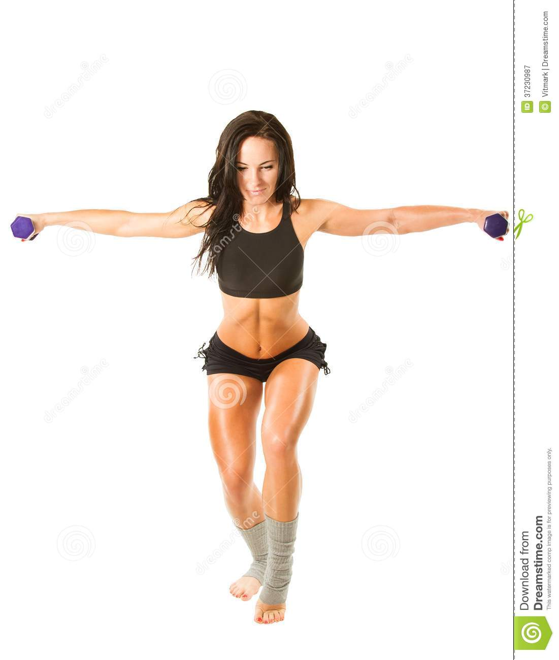 Young yoga woman doing exercise in yoga pose on isolated white background. Concept sports, fitness