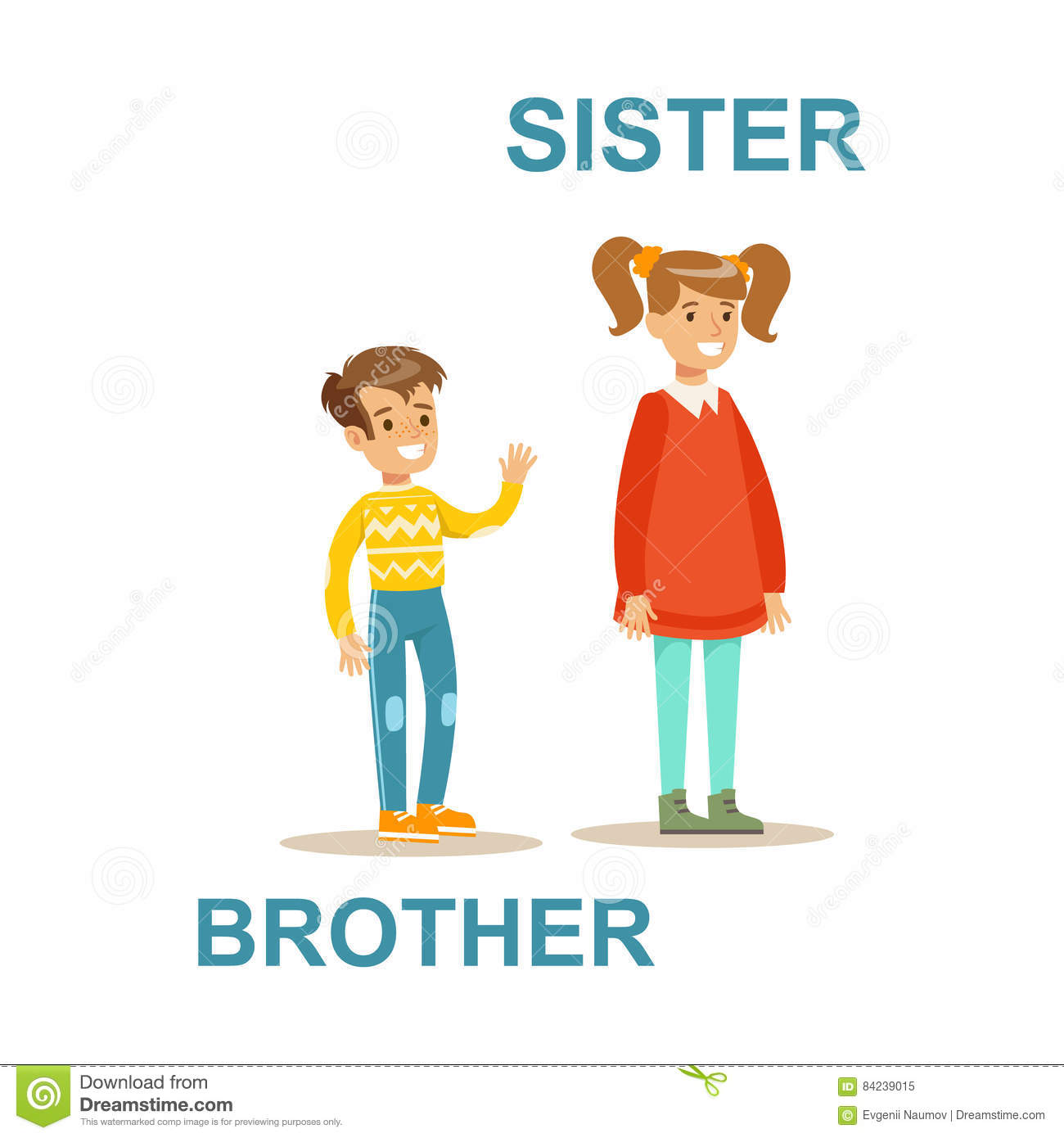 Picture For Brother Sister: Younger Brother And Older Sister, Happy Family Having Good