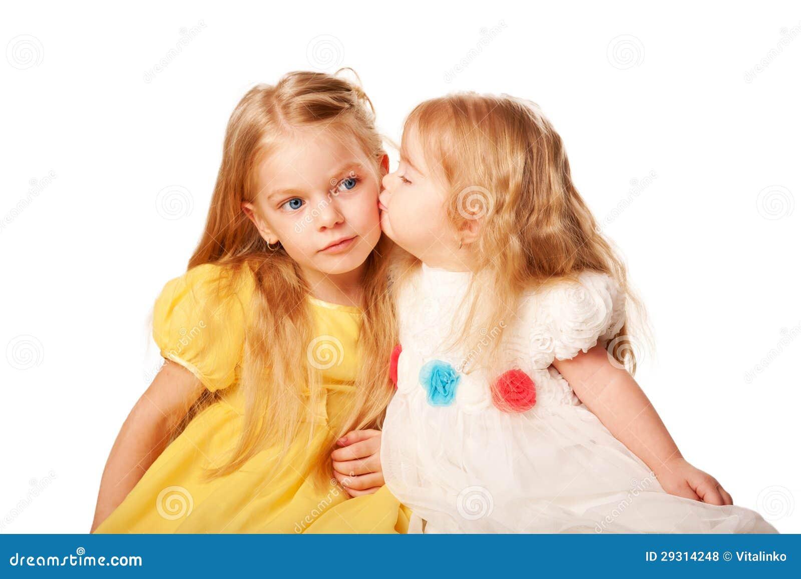 younger sister kissing elder sister royalty free stock little girl clipart outline little girl clipart pattern