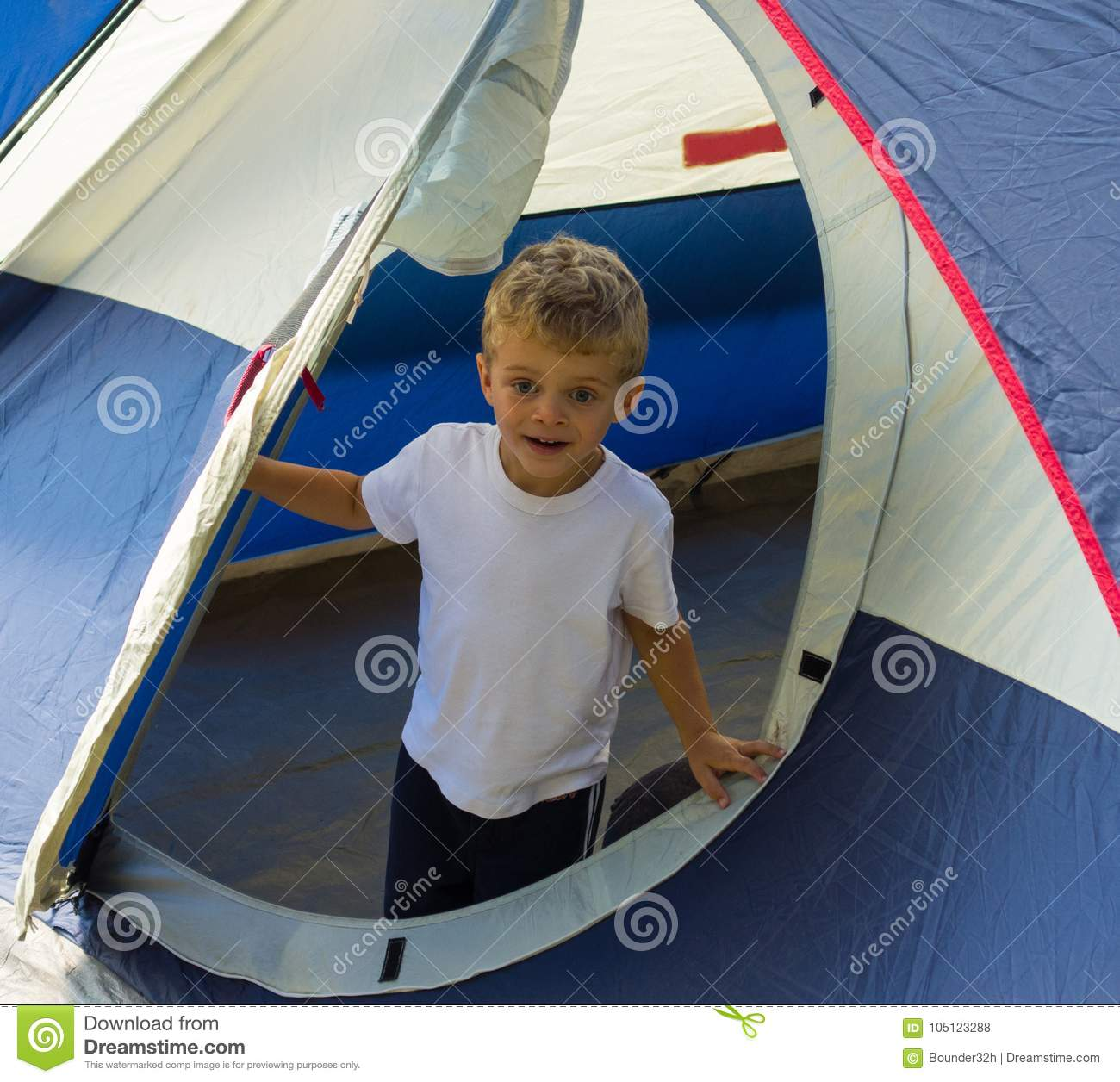 A Young Boy Pleased With The Erection Of The Family Tent ...