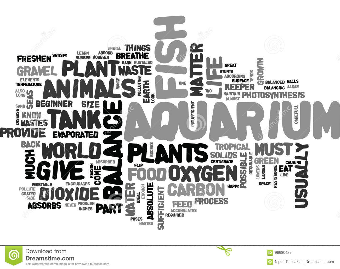 is your aquarium balanced text background word cloud concept stock