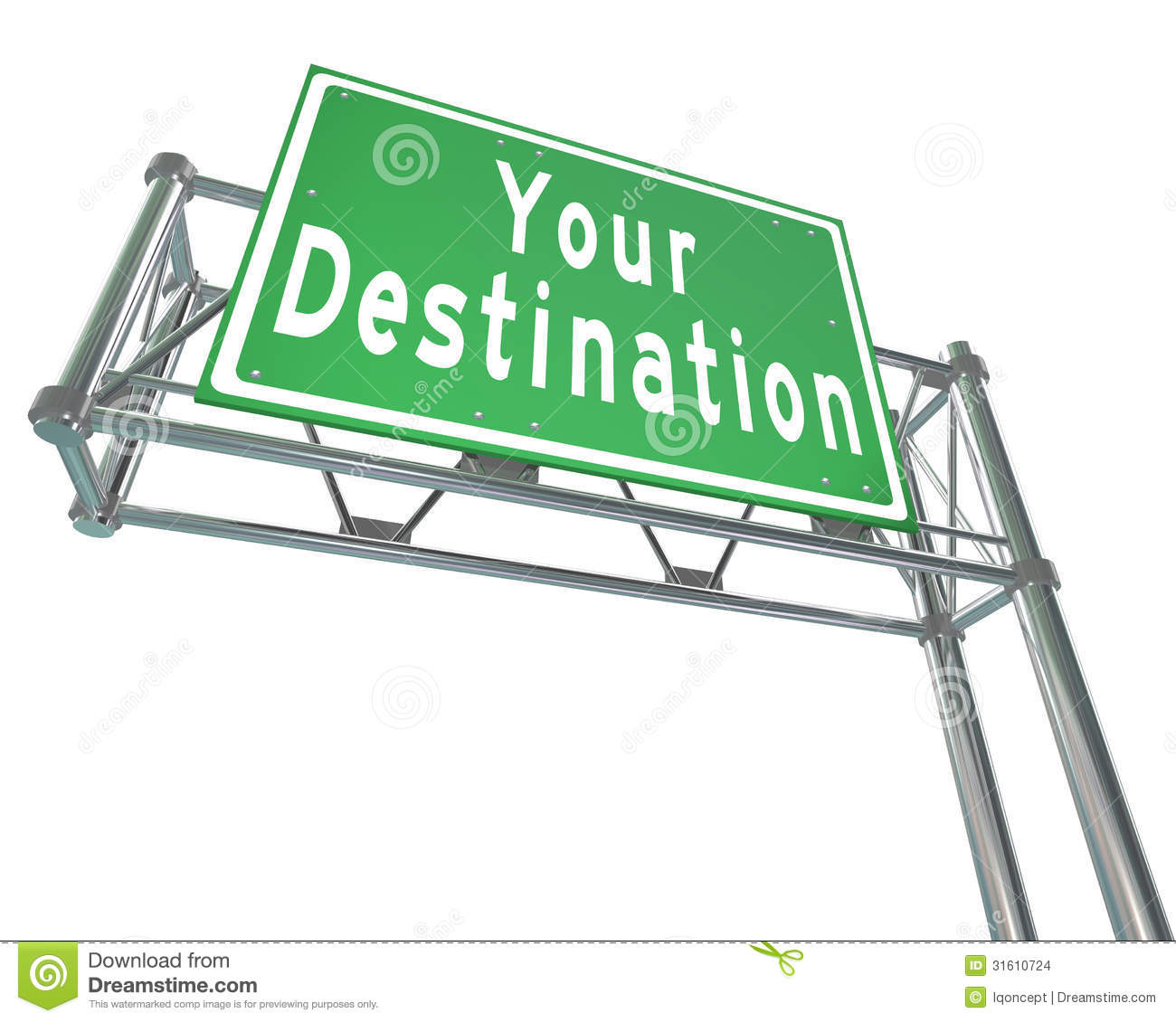 Your Destination Green Freeway Sign Arriving At Desired Location Stock ...